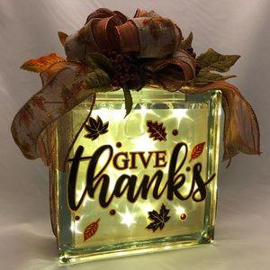 Handmade Thanksgiving glass light block